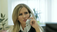 Business woman speaks on the phone. Lady in the office. Clerk at work. Stock Footage