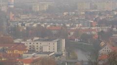 Car bridge across Ljubljanica river in Ljubljana Stock Footage