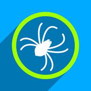 Stock Illustration of Spider Flat Square Icon with Long Shadow