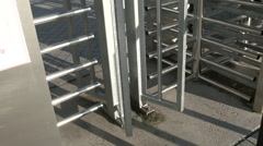 Metal Turnstile at the Entrance Stock Footage