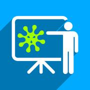 Virus Lecture Flat Square Icon with Long Shadow - stock illustration