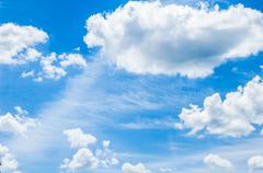 Beautifull blue cloudy sky with clouds after rain Stock Photos