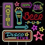 Neon Signboard Disco Club, Beer Pub Design Flat - stock illustration