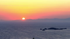 Panoramic time lapse of sun setting over the Aegean Islands and Mediterranean Stock Footage