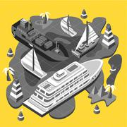 Isometric Set Ships. Sea Transport - stock illustration