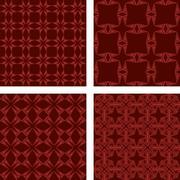 Maroon seamless triangle pattern wallpaper set - stock illustration