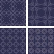 Grey vintage seamless pattern wallpaper set Stock Illustration