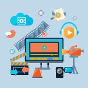 Online Cinema Theatre Icons Set Stock Illustration