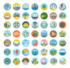 Set of Travel Icon Flat Design Stock Illustration