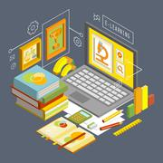 Vector Concept for Online Education. Flat 3d Isometric Design - stock illustration