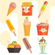 Ice Cream Vector Illustrations - stock illustration