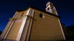 Church in night with stars timelapse - stock footage