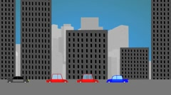 Stock Video Footage of City street with cars riding. Sity street animation.