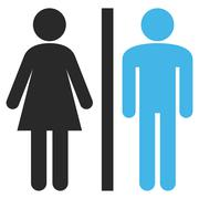 Lavatory Persons Flat Vector Pictogram - stock illustration