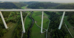 Drone film of Kocher Viaduct over farms, Baden-Wuerttemberg, Germany - stock footage