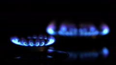 Close up of two gas burners Stock Footage