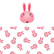 Rabbit Head Icon And Pattern - stock illustration