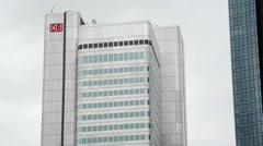 Silberturm Silver Tower, Deutsche Bahn DB logo, Frankfurt am Main, Germany Stock Footage