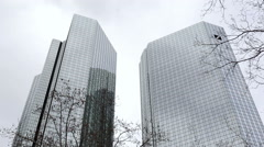 Deutsche Bank Twin Towers, low angle, medium shot, Frankfurt, Germany Stock Footage