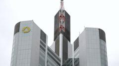 Commerzbank tower skyscraper building, Frankfurt am Main, Germany Stock Footage