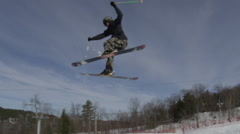 Winter Extreme Sport - Ski Hill Tricks - stock footage