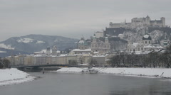 View of Salzach river, churches and Hohensalzburg Fortress in Salzburg Stock Footage