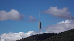 Torre de Collserola, Barcelona Telecommunications Tower at Tibidabo hill Stock Footage