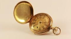Vintage Pocket Watch 18K Gold  Stock Footage