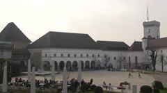 Courtyard of Ljubljana Castle in Ljubljana Stock Footage