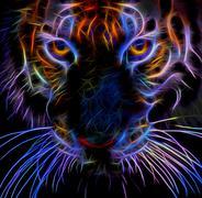 Neon tiger Stock Illustration