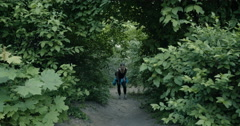 Young Sporty Girl Walking Up The Hill Stock Footage