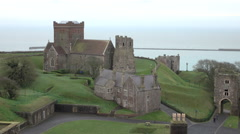 Dover Castle medieval Church from above tourism 4K Stock Footage