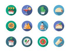 Mexican restaurant round flat color vector icons - stock illustration