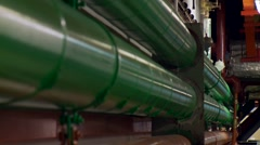 Colored industrial service pipes and ducts, long pull focus Stock Footage