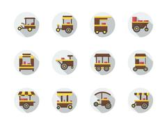 Street food stores round flat color vector icons - stock illustration