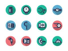 Measuring tools round flat color vector icons - stock illustration