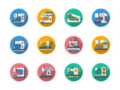 Sewing equipment round flat color vector icons - stock illustration