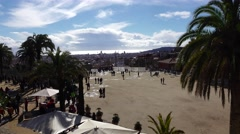 Square of Nature, empty gran placa at Park Guell, sunny february day. Stock Footage