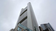 Commerzbank tower skyscraper building, low angle, Frankfurt, Germany Stock Footage