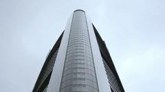 Commerzbank tower skyscraper, medium shot, Frankfurt, Germany, low angle Stock Footage