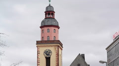 St. Catherine's Church clock tower, cloudy sky, Frankfurt am Main, Germany - stock footage
