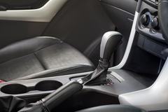 Automatic transmission gear shift. Car interior. - stock photo