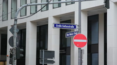 Street corner sign, Frankfurt am Main central business district, Germany Stock Footage