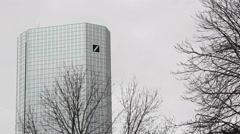 One of the Deutsche Bank Twin Towers, Frankfurt am Main, Germany Stock Footage