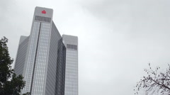 Trianon Tower, Sparkasse bank logo, low angle, Frankfurt am Main, Germany Stock Footage