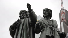 Gutenberg-Denkmal statue, close up, Frankfurt am Main square, Germany Stock Footage