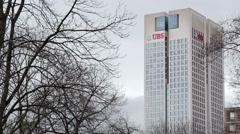 Opernturm Opera Tower skyscraper, UBS logo, Frankfurt am Main, Germany Stock Footage