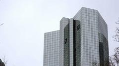 Deutsche Bank Twin Towers, medium shot, Frankfurt am Main, Germany Stock Footage