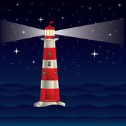 Lighthouse and Night Sea - stock illustration
