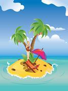 Red Bikini Girl on Island Stock Illustration